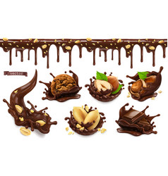 chocolate splashes with peanuts hazel nuts vector image