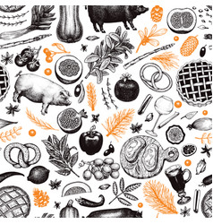christmas dinner seamless pattern hand vector image