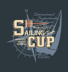 classic vintage yacht racing sailing regatta vector image
