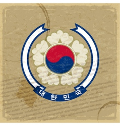 Coat of Korea on an old sheet of paper vector