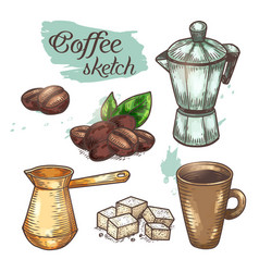 coffee beans and cup cezve or ibrik coffeeshop vector image