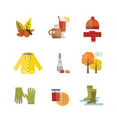 Collection of autumn clothes set the fall leaves vector