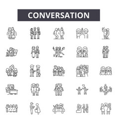 Conversation line icons signs set vector