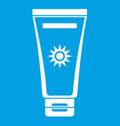Cream sun protection icon white vector