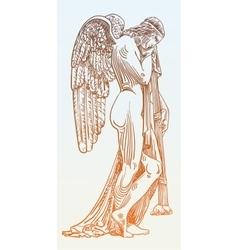 Digital sketch drawing marble statue sad angel vector