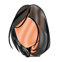 Drawing head female no face hair style vector