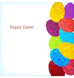 Easter background with colorful ornament eggs vector image
