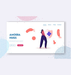 Epidemiology website landing page woman hold vector