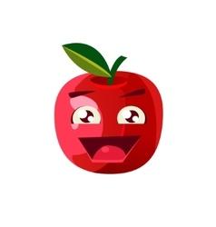 Excited apple emoji vector