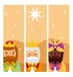 Feliz dia de los reyes three magic kings bring vector