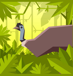 Flat geometric jungle background with emu vector