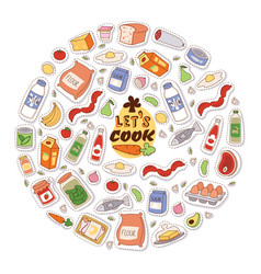 food stickers background let vector image