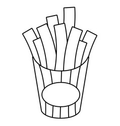 french fries box cartoon in black and white vector image