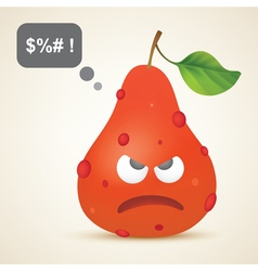 Funny red angry pear with pimples vector image
