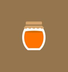 Glass jar honey or jam flat design icon vector