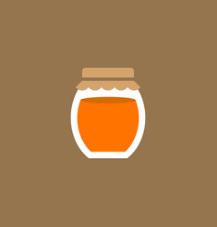 glass jar of honey or jam flat design icon vector image