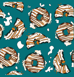 Glazed chocolate donuts with fudge and caramel vector