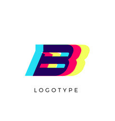 Glitch effect letter b colored spectrum overlay vector