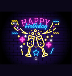 glowing neon happy birthday sign vector image
