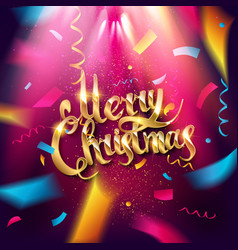 golden text merry christmas vector image