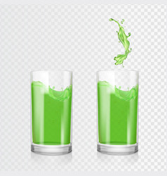 Green juice glass fruit apple kiwi drink vector