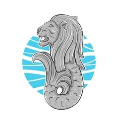 Hand drawn of Singapore symbol lion with fish tail vector