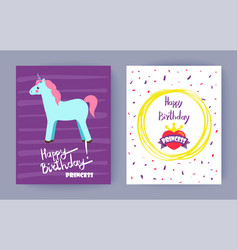 Happy birthday princess bright colorful banner vector
