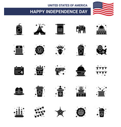 Happy independence day 25 solid glyph icon pack vector