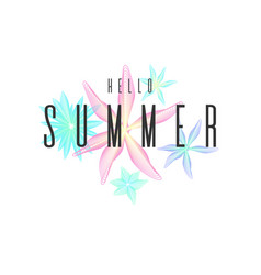 hello summer stylish poster trendy graphics vector image