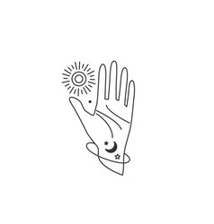 Human hand open in stop gesture reach out to sun vector