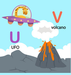 isolated alphabet letter u-ufo v-volcano vector image