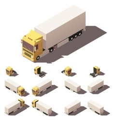 isometric truck with box semi-trailer icon vector image