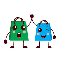kawaii gifts shop bag cartoon friends vector image