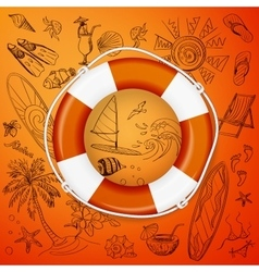 Life buoy and hand draw icon vector