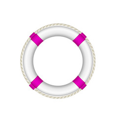 Life buoy in white and purple design with rope vector