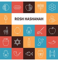 Line art rosh hashanah jewish new year holiday vector