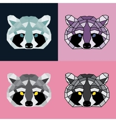 Low poly raccoon set vector image