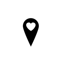 Map pointer with heart solid icon vector