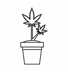 Marijuana plant in pot icon outline style vector