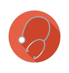 Medical phonendoscope flat style icon on round vector image
