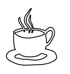 Monochrome contour hand drawn of hot coffee cup on vector
