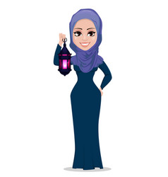 Muslim woman holding arabic lantern vector