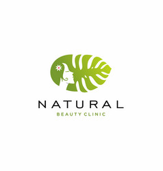 Natural girl with monstera leaf logo vector