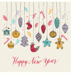 new year s toys hand drawn style vector image