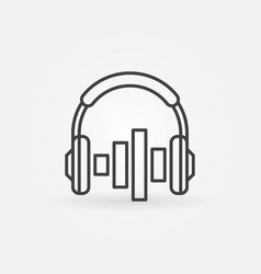 on ear headphones with equalizer outline icon vector image