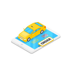 Online taxi ordering isometric 3d icon vector