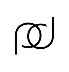 Pd pod dp dop initials line art geometric company vector