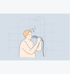 performance fun singing shower obesity concept vector image