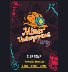 poster design with miners helmet vector image