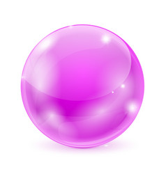 purple glass ball 3d shiny sphere vector image